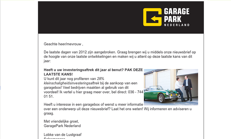 Garagepark – Nieuwsbrief